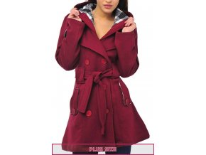 DOUBLE PLUS SIZE WINE DOUBLE BREAST COAT 01