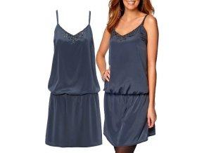 kovově modré šaty tunika na ramínka