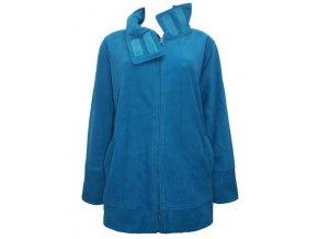 modrá fleecová mikina bunda na zip
