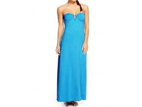 letní modré šaty bez ramínek