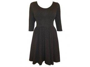 Pruhované šaty černo-hnědé