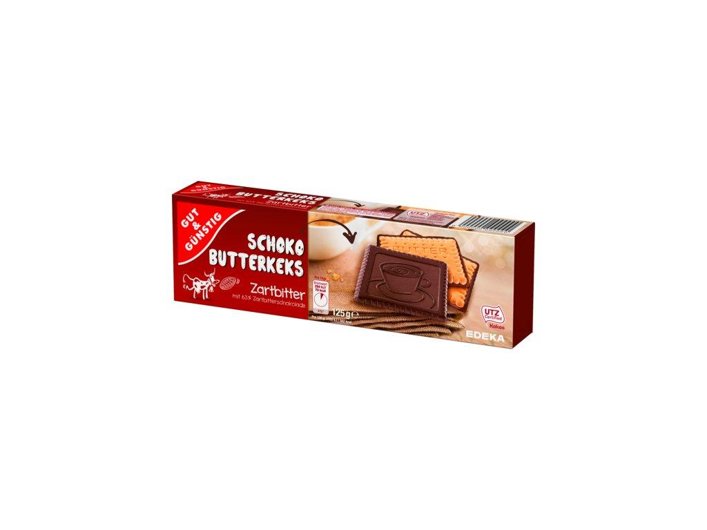 G&G Máslové sušenky máčené v hořké čokoládě 125g  - originál z Německa