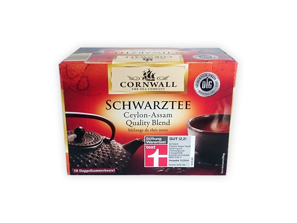 Cornwall černý čaj Ceylon-Assam 50 sáčků, 87,5g  - originál z Německa