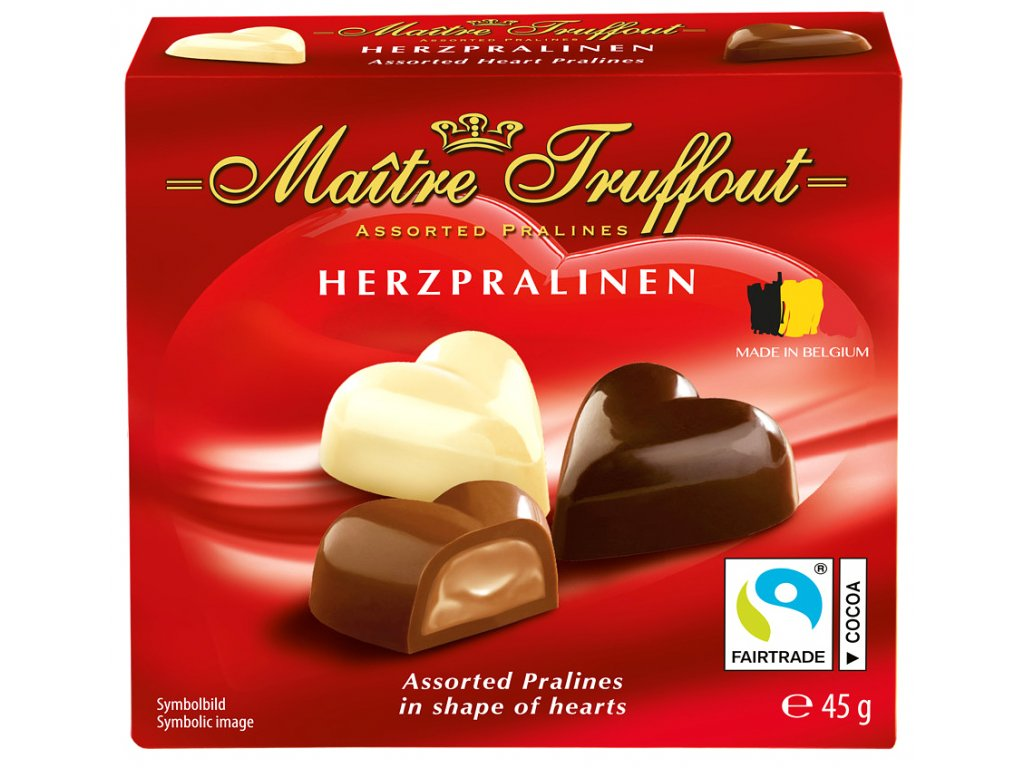 Maitre Truffout Mini belgické pralinky, srdíčka 45g