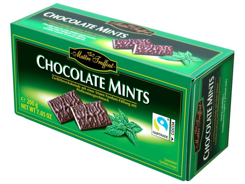 Maitre Truffout Čokoládové taštičky plněné mátou 200g