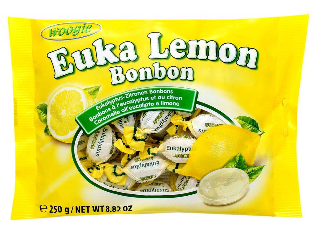 Woogie Eukalyptové citrónové bonbóny 250g