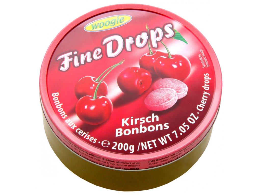 Woogie Fine Drops bonbóny v plechové dóze, třešeň 200g