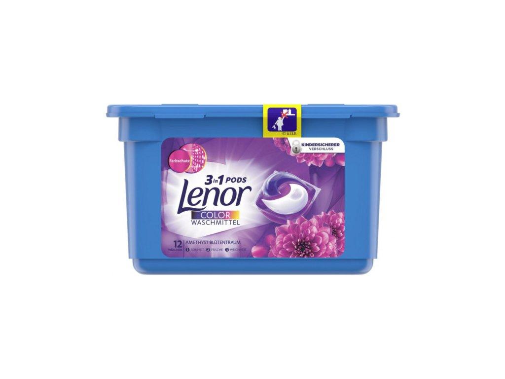 Lenor 3v1 gelové kapsle Color Amethys s vůní květin 14 ks