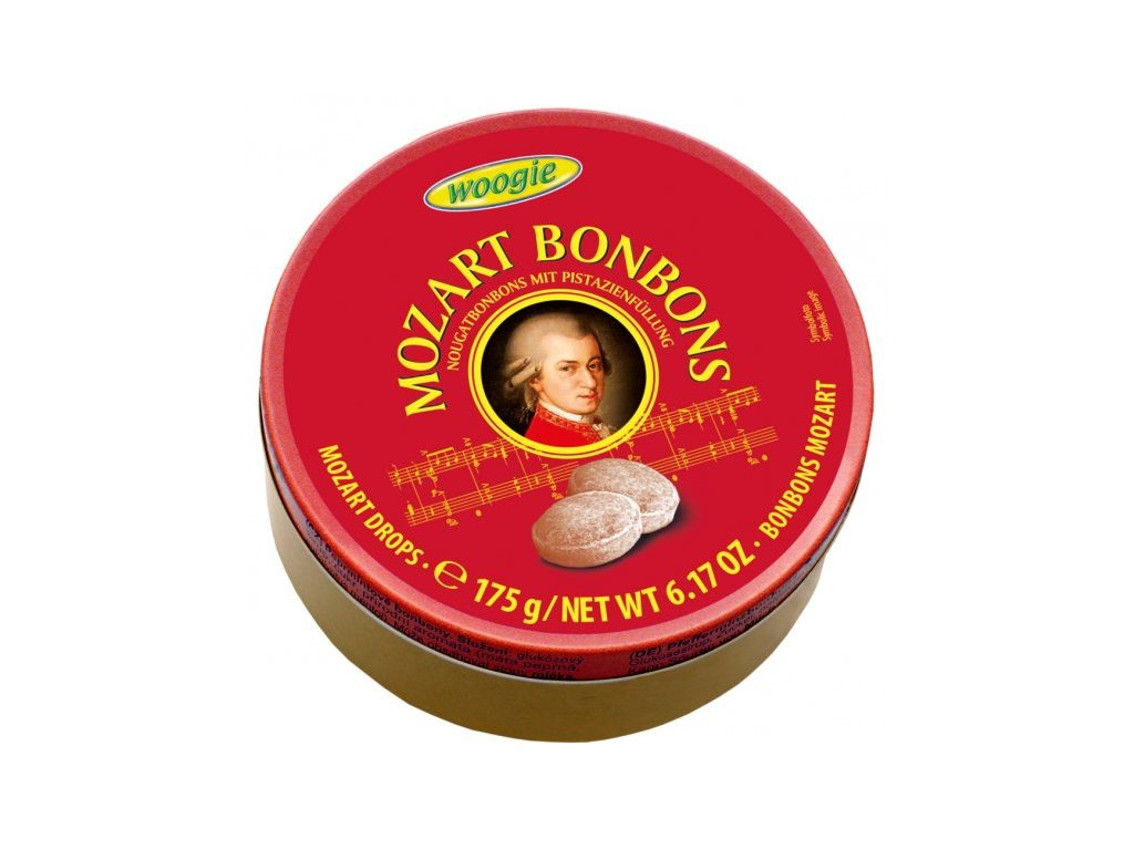 Woogie Fine Drops Mozartovy bonbóny v plechové dóze 200g