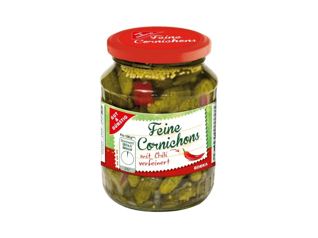G&G Cornichons nakládané mini okurky s chilli 370 ml