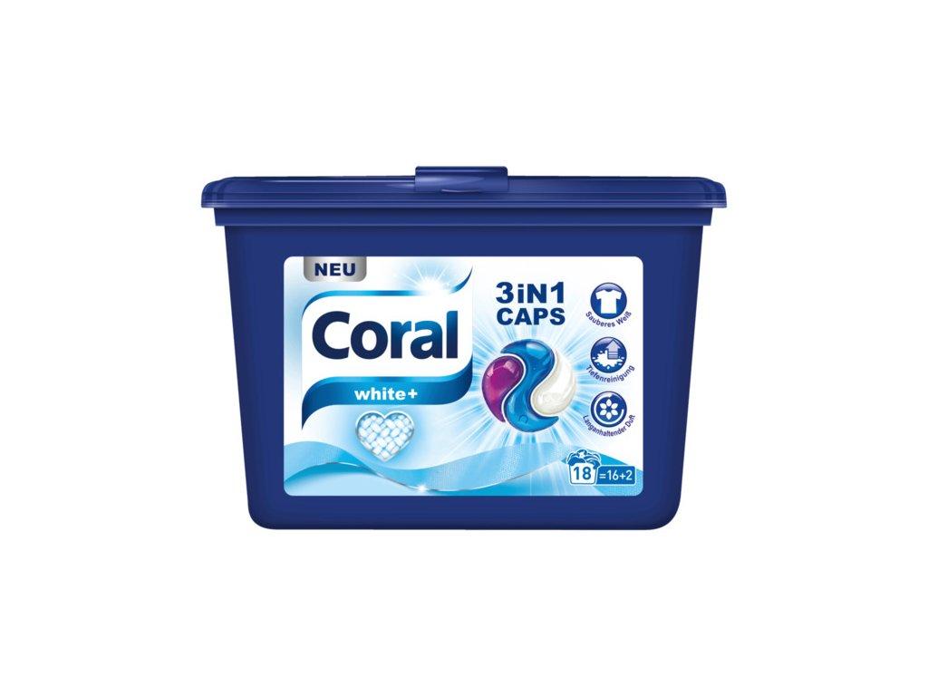 Coral White+ univerzální kapsle na praní 3v1, 18 dávek