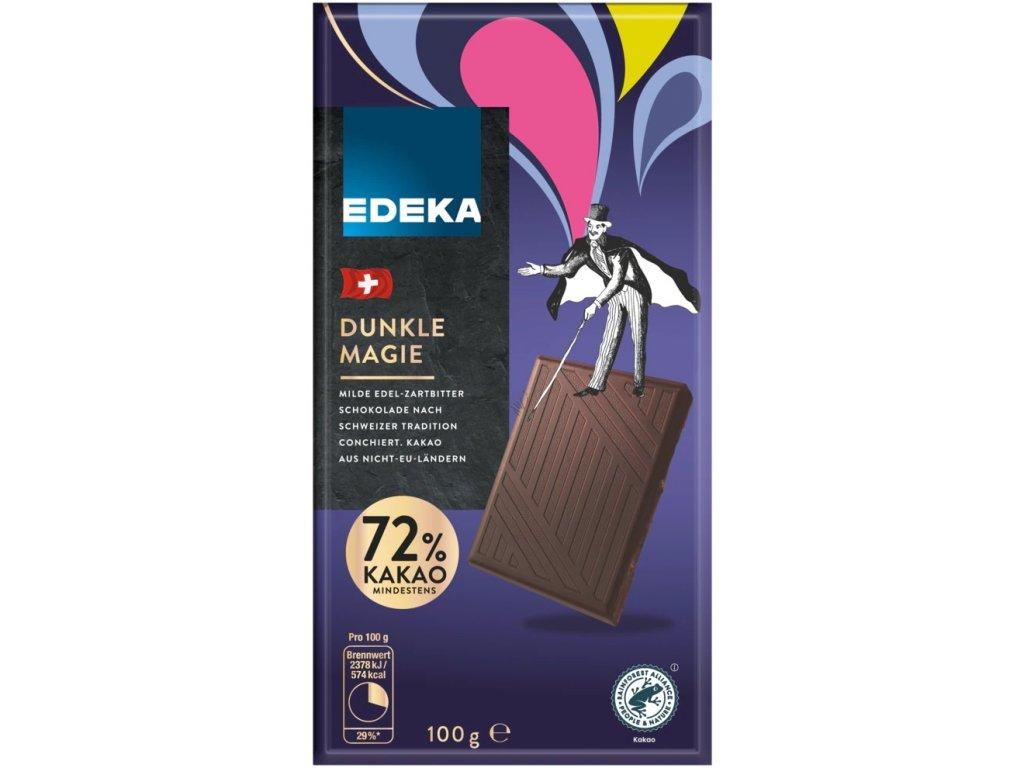 Edeka Švýcarská hořká čokoláda se 72% kakaa 100g