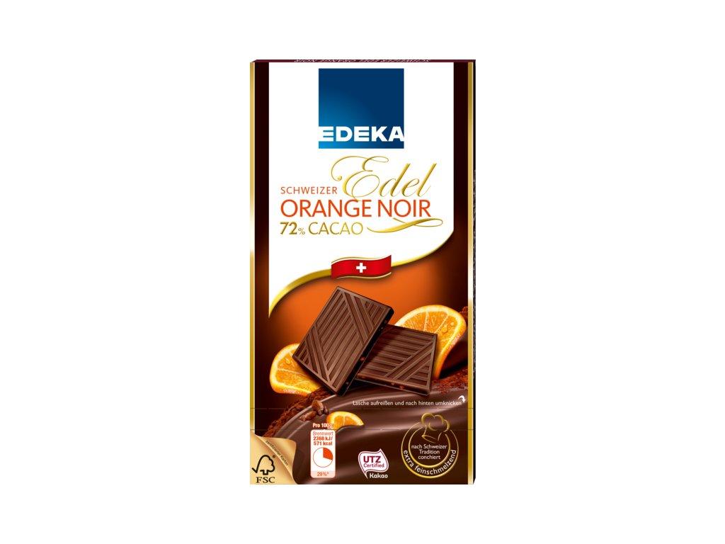 Edeka Švýcarská jemná čokoláda s pomerančem a 72% kakaa 100g