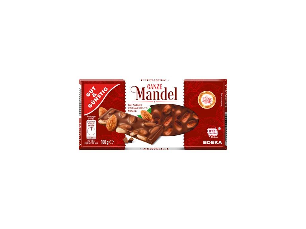 G&G Mléčná čokoláda s celými mandlemi 100g
