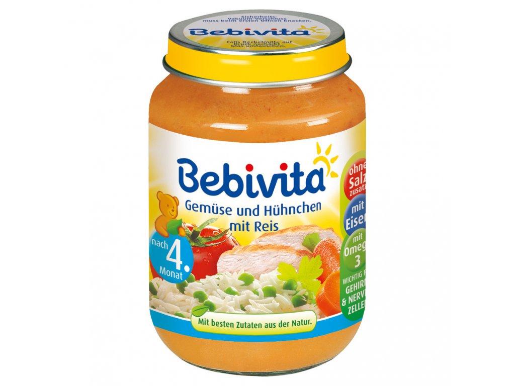 Bebivita Zelenina s kuřetem a rýží 190g  - originál z Německa