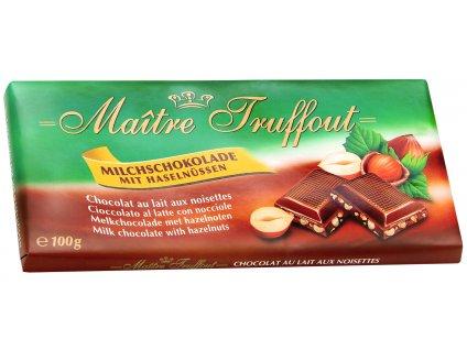 Maitre Truffout mléčná čokoláda s lískovými ořechy 100g