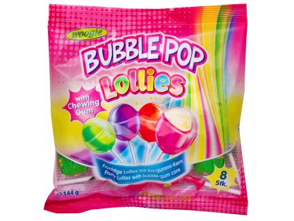 Woogie Lollies Bubble Pop lízátka se žvýkačkou 144g