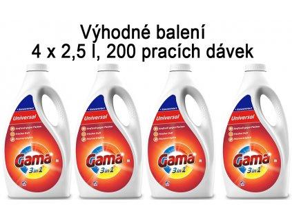 Vizir Gama Univerzální prací gel 4 x 2,5 l, 200 pracích dávek