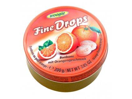 Woogie Fine Drops bonbóny v plechové dóze, pomeranč 200g