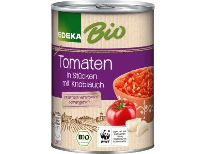 Edeka BIO rajčata, na kousky s česnekem 400g