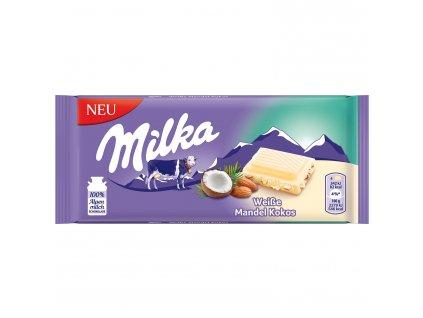 Milka bílá čokoláda s mandlemi a kokosem 90g