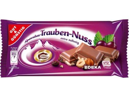 G&G Jemná alpská čokoláda s rozinkami a oříšky, 100g