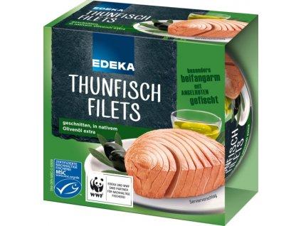 Edeka Premium tuňák v olivovém oleji, krájený 185g