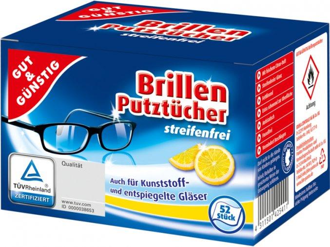 G&G Vlhčené čistící ubrousky na brýle 54 ks