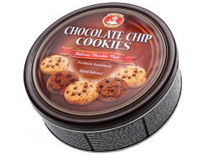 Máslové sušenky s kousky čokolády v plechové dóze 454g