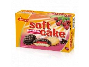 Soft Cake piškoty s čokoládovou polevou a malinovu náplní 300g