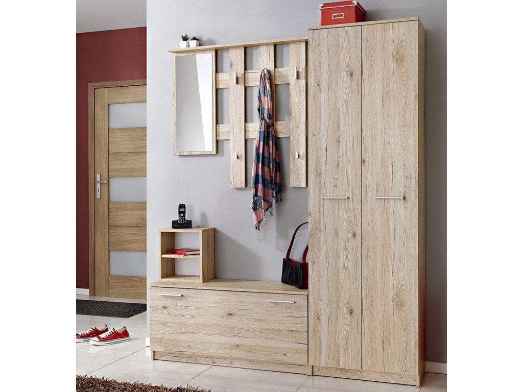 Předsíňová stěna RENO ( věšák, botník, zrcadlo, skříň )