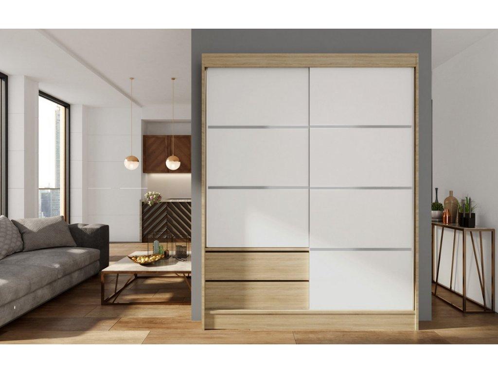 Skříň s posuv. dveřmi 150 cm VARIA dub sonoma/bílá