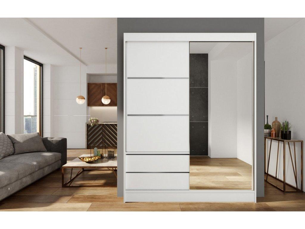 Skříň s posuv. dveřmi 150 cm VARIA bílá/zrcadlo