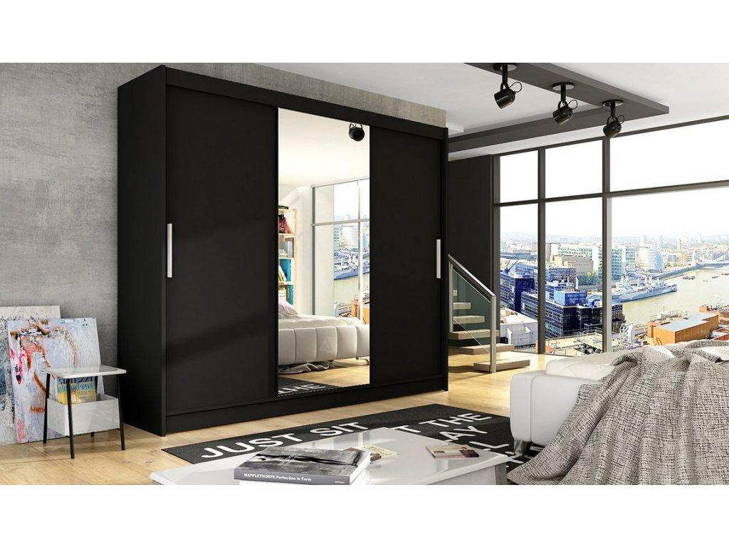 Šatní skříň ADRIA I černá zrcadlo