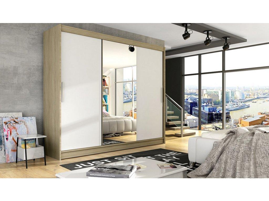 Šatní skříň ADRIA I sonoma/bílá zrcadlo
