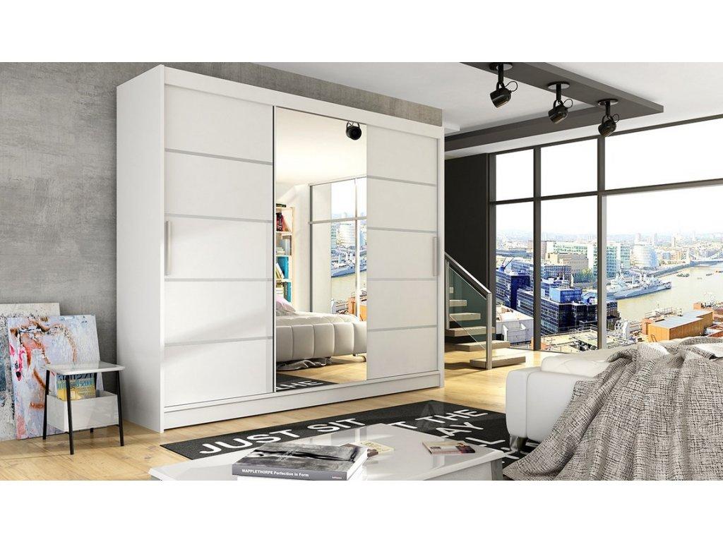 Šatní skříň ADRIA VI bílá mat/zrcadlo