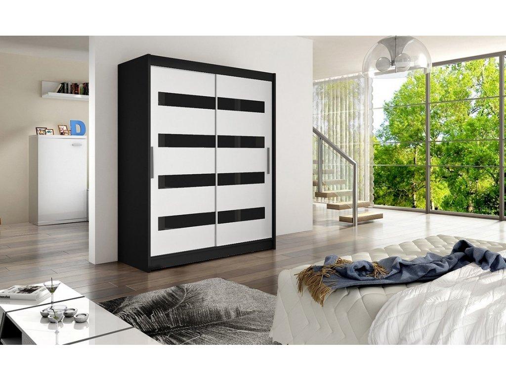 Šatní skříň VIVALDI IV černá/bílá