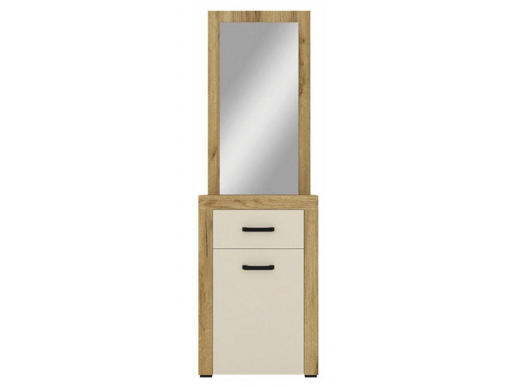 Skříňka se zrcadlem DENVER dub kraft zlatý/vanilka