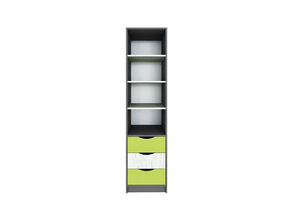 Regál 3S DISNEY dub kraft bílý/šedý grafit/limeta