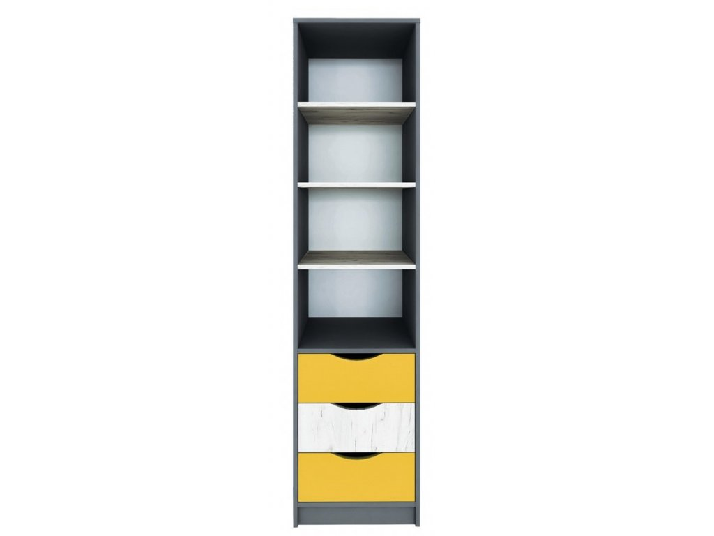 Regál 3S DISNEY dub kraft bílý/šedý grafit/žlutá