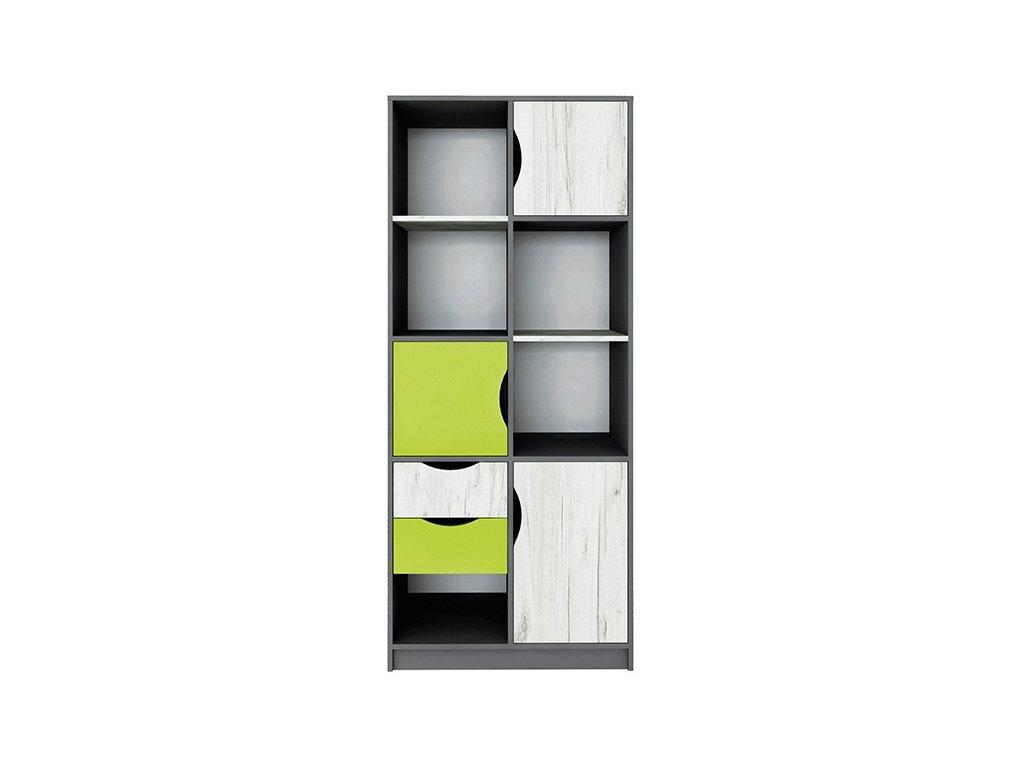 Skříň policová 3D2S DISNEY dub kraft bílý/šedý grafit/limeta