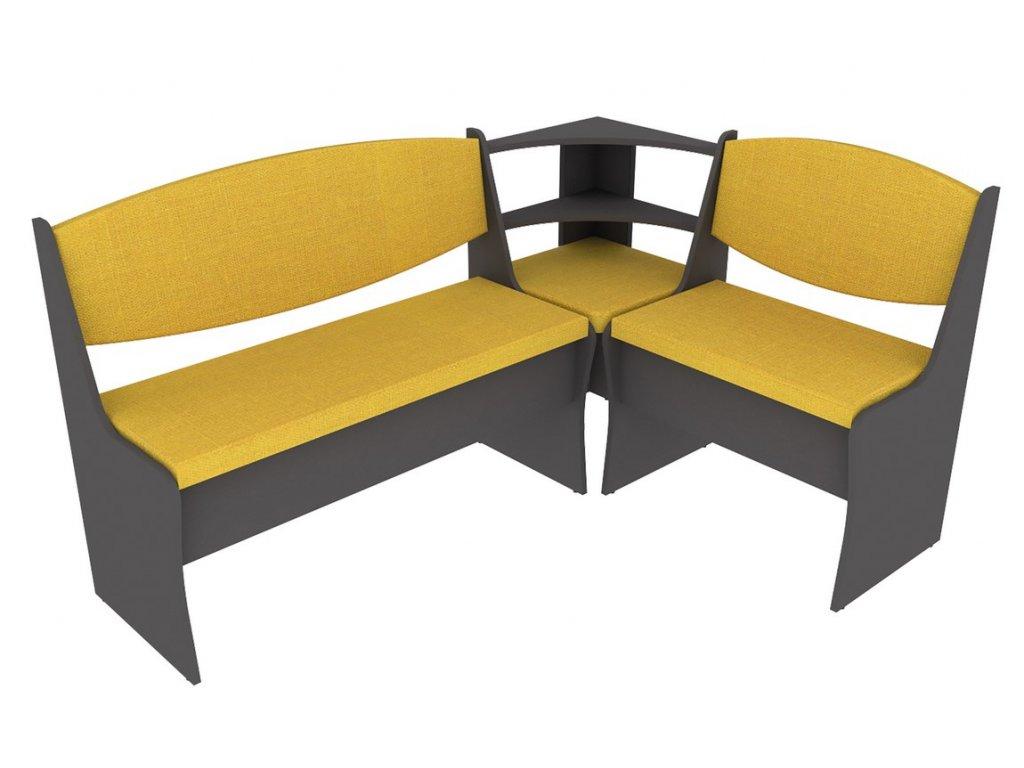 Jídelní rohová lavice PRIME šedý grafit/hořčicová