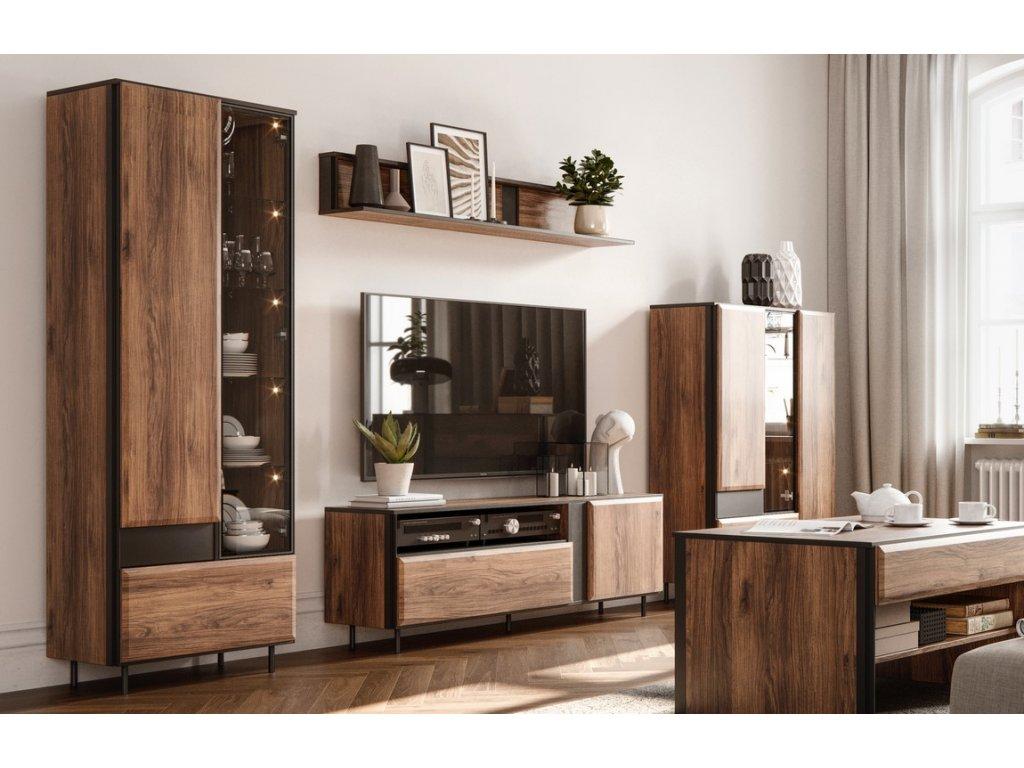Obývací sestava GARDOB SET1 (2x vitrína, tv stolek, police) dub catan/černá