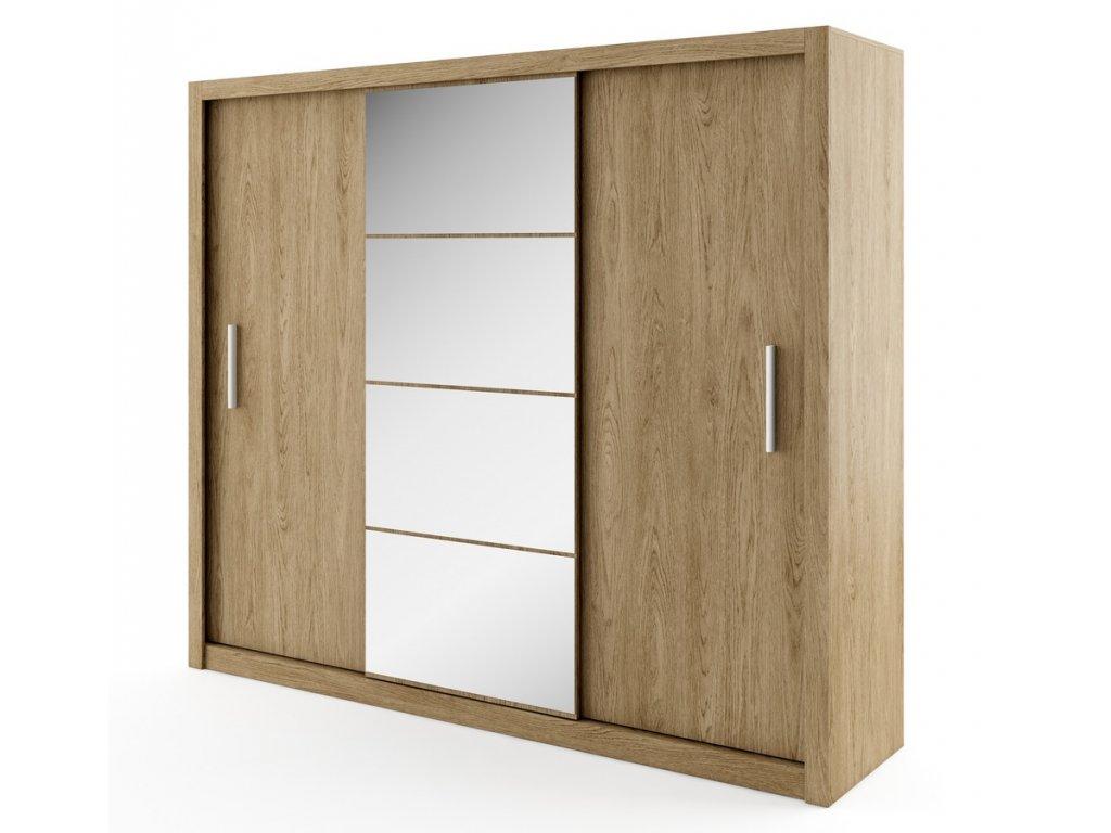 Šatní skříň IDEA 01 dub shetland zrcadlo 250 cm