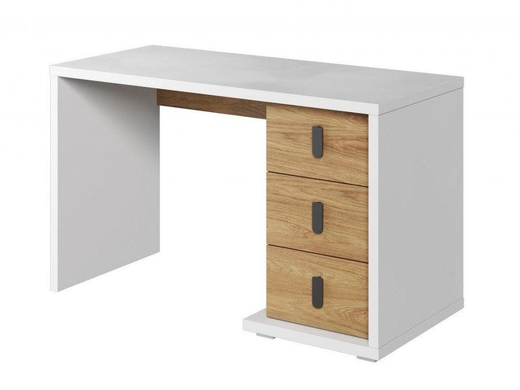 Pracovní stůl SOMAS 06 3S bílá/ořech natural
