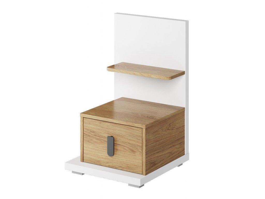 Noční stolek levý SOMAS 08L 1S bílá/ořech natural