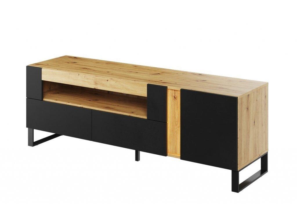 Televizní stolek LAKO 03 1D2S dub evoke/černá