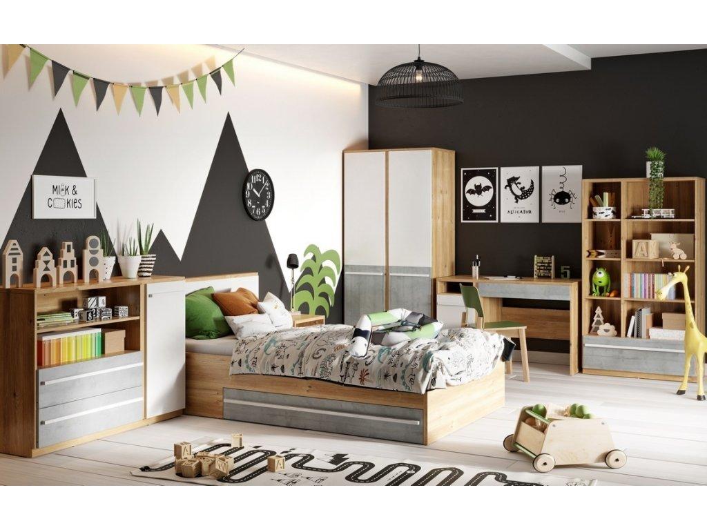Sestava dětského pokoje FLAMY SET2 (2+3+5+6+10) dub nash/šedá/bílá