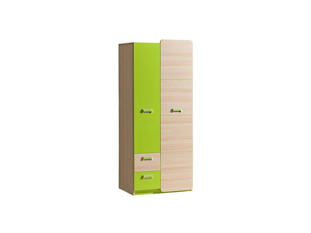 LIMO L1 šatní skříň jasan/zelená
