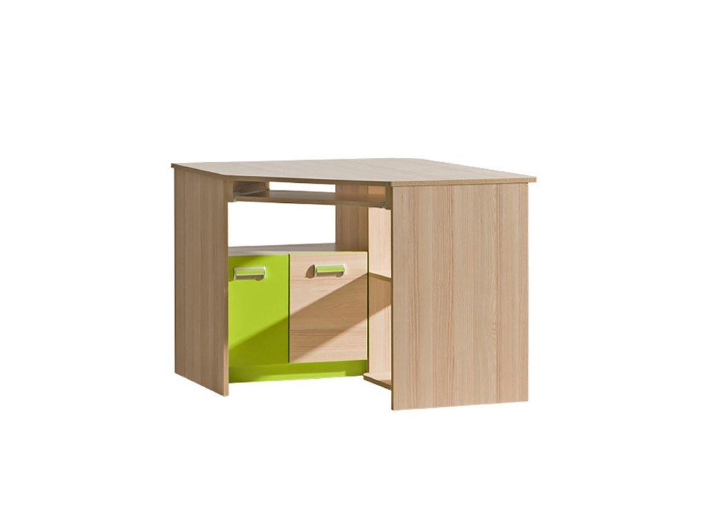 LIMO L11 pracovní rohový stůl jasan/zelená